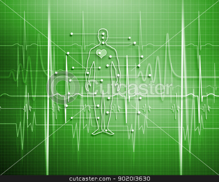 Heart Beat stock photo, A medical background with a heart beat / pulse with a heart rate monitor symbol by Sergey Nivens