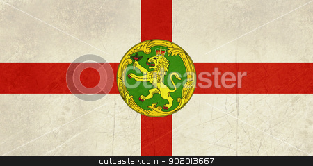 Grunge Alderney Flag stock photo, Grunge sovereign state flag of dependent country of Alderney in official colors.  by Martin Crowdy