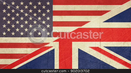 Grunge American and British flag stock photo, Grunge American and British flags joined together, isolated on white background. by Martin Crowdy