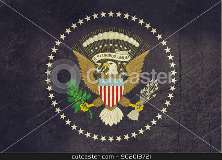 Grunge American Presidents flag stock photo, Grunge official flag of the President of the U.S.A or America. by Martin Crowdy