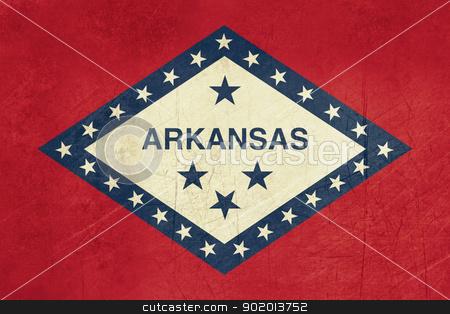 Grunge Arkansas state flag stock photo, Grunge Arkansas state flag of America, isolated on white background. by Martin Crowdy