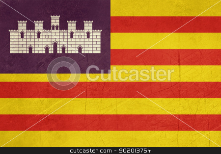 Grunge Balearic Islands flag stock photo, Grunge illustration of Balearic Islands flag in Spain, isolated on white background. by Martin Crowdy