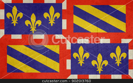 Grunge Bourgogne flag stock photo, Grunge illustration of French province of national state of Bourgogne, France. by Martin Crowdy