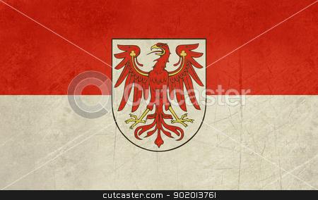 Brandenburg state flag or banner stock photo, Grunge illustration of German Brandenburg state flag or banner. by Martin Crowdy