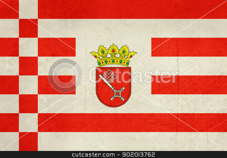 Grunge Bremen Civil Flag stock photo, Grunge Illustration of German Bremen civil state flag or banner. by Martin Crowdy