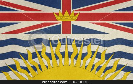 Grunge British Columbia state flag stock photo, Grunge illustration of British Columbia state flag, Canada. by Martin Crowdy