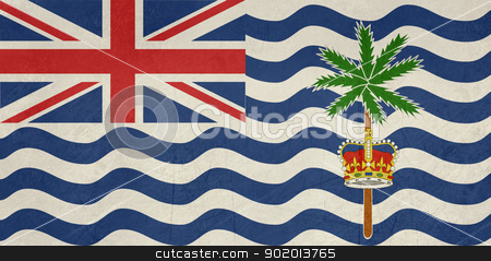 Grunge British Indian Ocean Territory stock photo, Grunge Sovereign state flag of dependent country of British Indian Ocean Territory in official colors.  by Martin Crowdy