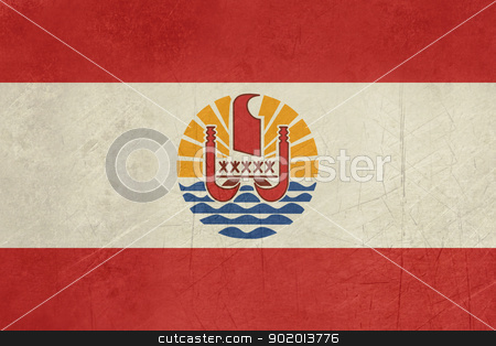 Grunge French Polynesia Flag stock photo, Grunge sovereign state flag of dependent country of French Polynesia in official colors.  by Martin Crowdy