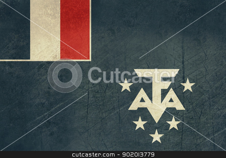 Grunge French Southern Antarctic Lands Flag stock photo, Grunge svereign state flag of dependent country of French Southern Antarctic Lands in official colors.  by Martin Crowdy