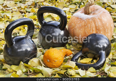 iron  kettlebells outdoors stock photo, three heavy iron  kettlebells outdoors in a fall scenery  with pumpkin and squash - outdoor fitness concept by Marek Uliasz