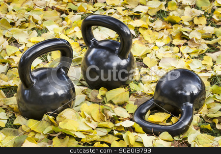 iron  kettlebells outdoors stock photo, three heavy iron  kettlebells outdoors in a fall scenery  - outdoor fitness concept by Marek Uliasz