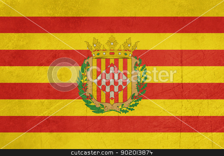 Grunge Girona city flag stock photo, Grunge illustration of Girona city flag in Spain, isolated on white background. by Martin Crowdy