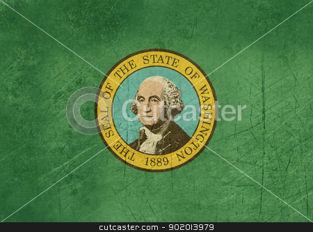 Grunge Washington state flag stock photo, Grunge Washington state flag of America, isolated on white background. by Martin Crowdy