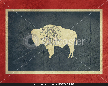 Grunge Wyoming state flag stock photo, Grunge Wyoming state flag of America, isolated on white background. by Martin Crowdy