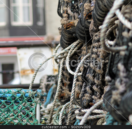 Lobster pots or creels stock photo, Lobster pots or creels, Scarborough harbor, England. by Martin Crowdy
