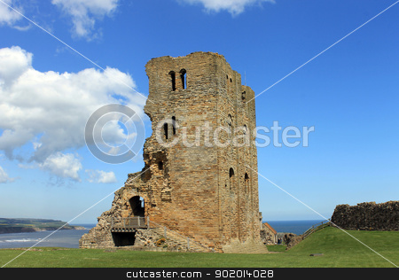 Scarborough Castle stock photo, Scenic view of Scarborough castle, North Yorkshire, England. by Martin Crowdy