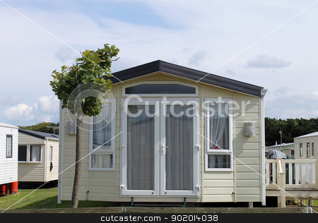 Static caravan in trailer park stock photo, Static caravan in trailer park. Scarborough, England. by Martin Crowdy