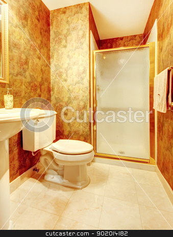Golden antique bathroom with shower and marble tiles. stock photo, Golden antique bathroom with shower and marble tiles. by iriana88w