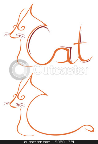 Cat symbol stock vector clipart, Illustration of cat isolated on white by Oxygen64