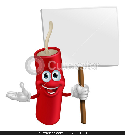 Dynamite mascot holding a sign stock vector clipart, Cartoon happy smiling dynamite mascot holding a sign by Christos Georghiou