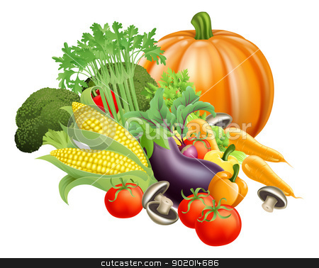 Healthy fresh produce vegetables stock vector clipart, Illustration of produce assortment of healthy fresh vegetables by Christos Georghiou