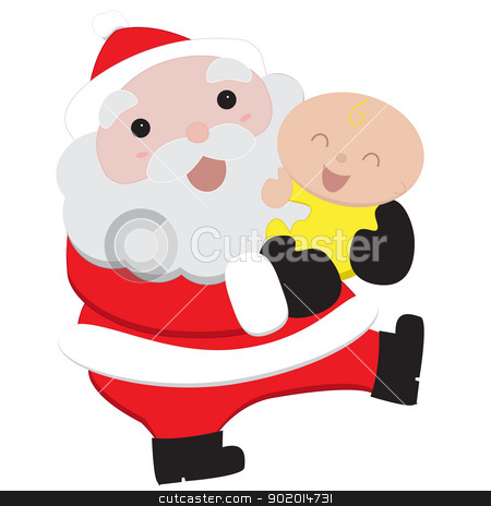 Santa and Baby stock vector clipart, Isolated vector illustration of Santa holding a baby by William Robson