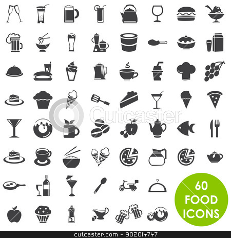 Food and drink icons vector stock vector clipart, 60 Food and drink icons vector by Etty  Ozer