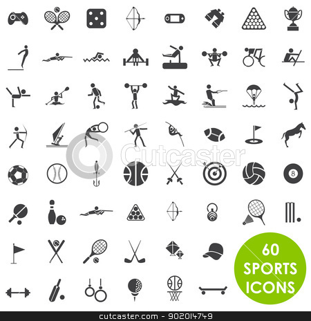 Sports icons basics vector stock vector clipart, 60 sports icons basics vector by Etty  Ozer