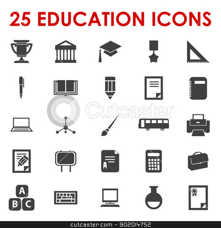 Education icons vector stock vector clipart, 25 Education icons vector by Etty  Ozer
