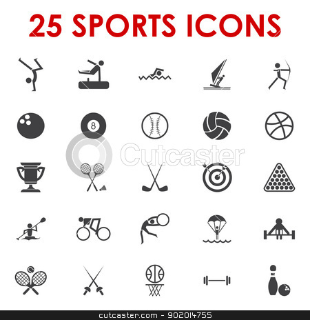 Sports icons vector stock vector clipart, 25 sports icons vector by Etty  Ozer