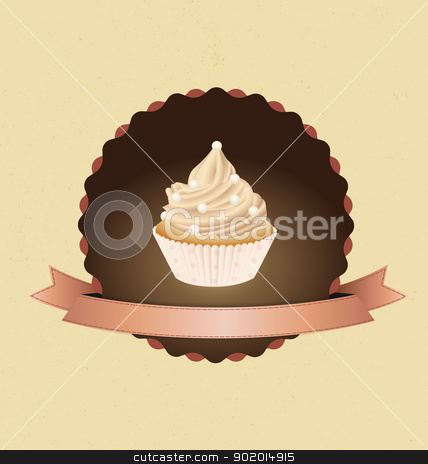 Cupcakes stock vector clipart, cupcake card in vintage style a retro 3 by Miroslava Hlavacova