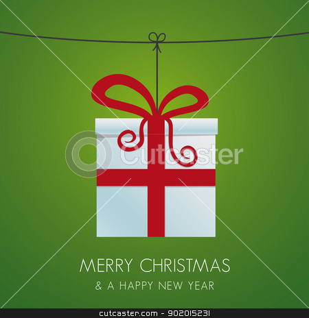 christmas gift hanging on a twine stock vector clipart, christmas gift box hanging on a twine by d3images