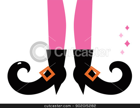 Retro witch legs isolated on white stock vector clipart, Vintage witch legs. Vector cartoon Illustration by BEEANDGLOW