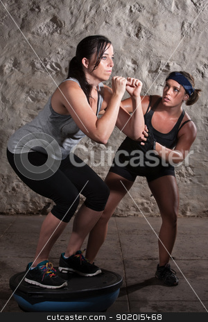 Two Women in Boot Camp Balance Training  stock photo, Pretty European woman on balancing equipment for boot camp workout by Scott Griessel