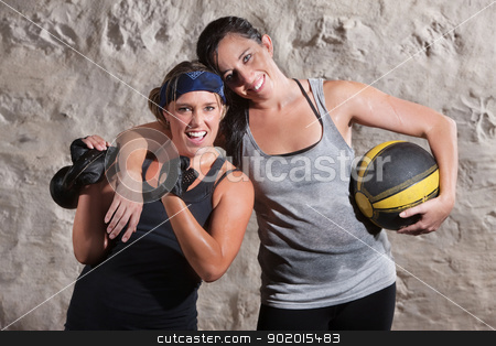 Excited Boot Camp Training Partners stock photo, Happy boot camp training partners with weight and medicine ball by Scott Griessel