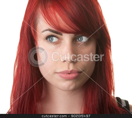 Beautiful Woman Looking Over stock photo, Beautiful young woman with eyes looking over by Scott Griessel