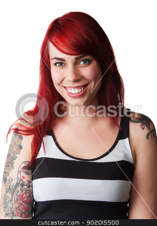 Smiling Woman with Tank Top and Tattoo stock photo, Pretty young woman with red hair, tattoo and striped tank top by Scott Griessel