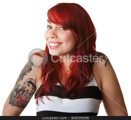 Proud Young Woman with Tattoos stock photo, Cute proud young woman in red hair with tattoos by Scott Griessel