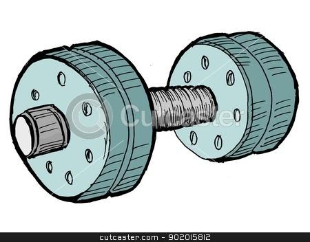 dumbbell stock vector clipart, Illustration of the dumbbell on white background by Oleksandr Kovalenko