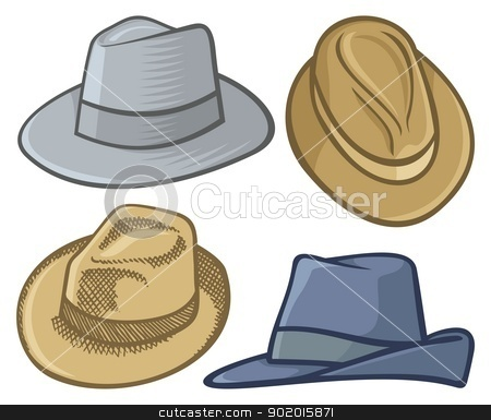 Fedora hats stock vector clipart, Four fedora hat illustrations isolated on white. by fractal.gr