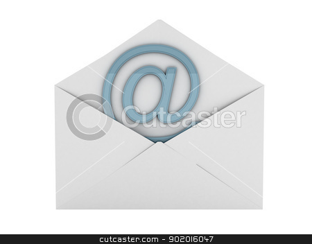 Open envelope with e-mail sign stock photo, Open envelope with e-mail sign . computer generated by blotty