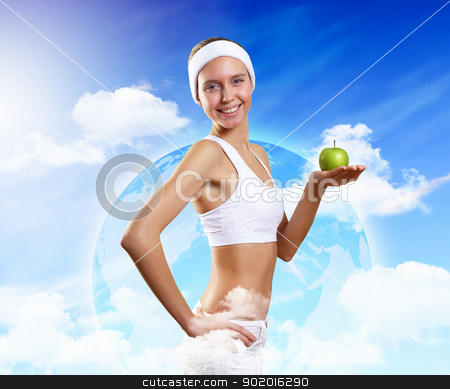 Portrait of a young woman doing sport stock photo, Portrait of a young woman doing sport with a bottle of pure water by Sergey Nivens
