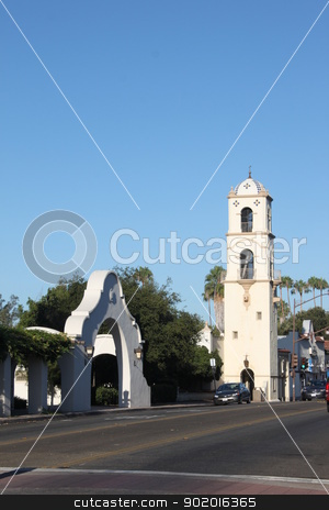 Downtown Ojai stock photo, Downtown Ojai with the post office tower. by Henrik Lehnerer