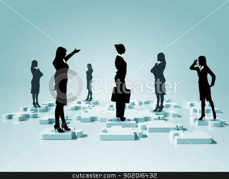 Social network and human figures stock photo, Symbol of social network and human figures by Sergey Nivens