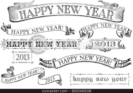 Vintage Style Happy New Year Banners stock photo, A set of distressed, old-style Happy New Year stamps for 2013. Similar in style to imprints from the 1800s.  Isolated on white. by Mark Carrel