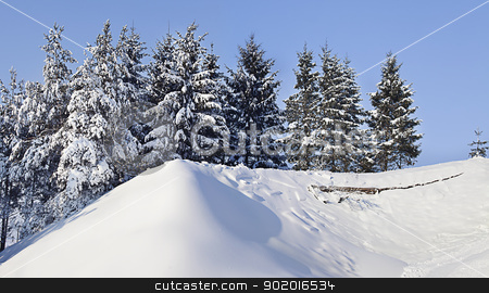 mountains landscape stock photo, a snow covered mountain on a beautiful sunny day by photomim