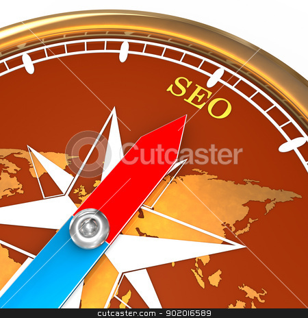 Compass SEO stock photo, Golden compass with text