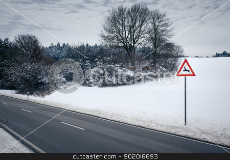 winter road stock photo, An image of a road in a winter scenery by Markus Gann