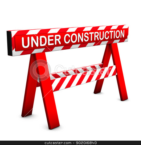 Under Construction Icon stock photo, Under construction icon, with red and white colors. White background. by Alexander Limbach