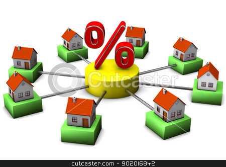 Home For Sale stock photo, Connected houses with a big percent symbol. White background. by Alexander Limbach
